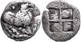 Aigai, AR Trihemiobol (0,85g), 500-480 V. Chr., Av: Ziege Mit Rückgewendetem Kopf R. Kniend, Darüber Und Darunter Kugel, - Antique