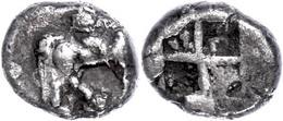Tetrobol (2,25 G), 498-454 V. Chr., Alexander I. Av. Reiter N. R. Rev: Viergeteiltes Quadratum Incusum. SNG ANS 7, Av. L - Antique