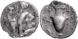 Thasos, AR Trihemiobol (0,75g), 411-350 V. Chr., Av: Satyr Mit Kantharos L. Kniend, Rev: Amphora, SNG Cop. 1029f., Ss.   - Antique