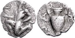 Thasos, AR Trihemiobol (0,80g), 411-350 V. Chr., Av: Satyr Mit Kantharos L. Kniend, Rev: Amphora, SNG Cop. 1029f., Ss.   - Antique