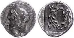 Elaia, Diobol (1,20 G), Um 450-400 V. Chr. Av. Kopf Der Athena. Rev. Kranz In Quadratum Incusum, Rechts Davon Griech. Bu - Antique