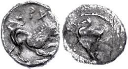 Issos, Obol (0,6 G), 4. Jh. V. Chr.. Av. Meeresgott Mit Dreizack N. L. Rev. Löwe N. R. Stehend, Darüber Schriftzeichen.  - Antique
