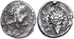 Soloi, Obol (0,8 G), 4. Jh. V. Chr., Unbestimmter Satrap. Av. Behelmter Kopf Der Athena N. R. Rv. Traube Mit Ranke, Link - Antique