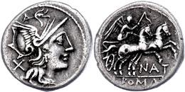 Pinarius Natta?, Denar (3,74g), 149 V. Chr., Rom. Av: Romakopf Mit Flügelhelm Nach Rechts, Dahinter Wertzeichen X. Rev:  - Roman