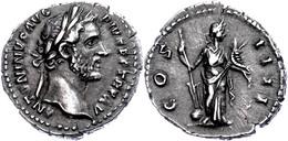 Antoninus Pius, 151-152, Dinar (3,45g), Rom. Av: Kopf Nach Rechts, Darum Umschrift. Rev: Stehende Fortuna Nach Rechts, D - Roman