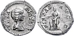 Julia Domna, 193-217, Antoninian (3,35g), Rom. Av: Büste Nach Rechts, Darum Umschrift. Rev: Stehende Pietas Nach Links,  - Roman