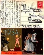 Année Date Millesime 1933 1934 - Passage D'année, Signé Axel Rosmann Vieillard Enfant Nu Cochon Sapin - Anno Nuovo