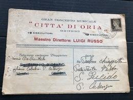 CITTA' DI ORIA (BRINDISI) GRAN CONCERTO MUSICALE MAESTRO DIRETTORE LUIGI RUSSO  1939  BANDA MUSICALE - Brindisi