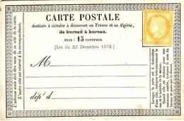 15 C CERES N° 55 NEUF Sur Carte Precurseur , Cote Sans Gomme 180 Euro - 1871-1875 Ceres