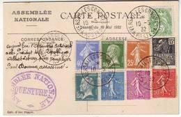 Cachet VERSAILLES CONGRES POSTES Election Presidentielle Du 10 Mai 1932 , Blanc , Pasteur , Semeuse - Poststempel (Briefe)