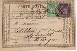 Sage Carte Precurseur Pour La BELGIQUE , TTB - Postmark Collection (Covers)