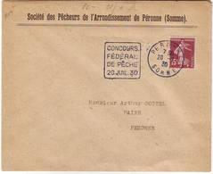 CONCOURS DE PECHE 20 Juillet 1920 PERONNE SOMME , Daguin Tres Rare DUREE 1 JOUR , Poissons - Poststempel (Briefe)
