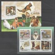 BC809 2010 S.TOME E PRINCIPE PETS DOGS CAES 1KB+1BL MNH - Hunde