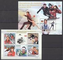 BC825 2010 S.TOME E PRINCIPE SPORT OLYMPIC GAMES INVERNO 2010 WINNERS 1KB+1BL MNH - Wintersport (Sonstige)