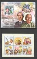 BC844 2010 S. TOME E PRINCIPE FAMOUS PEOPLE HUMANISTS GANDHI POPES DALAI LAMA 1KB+1BL MNH - Famous People