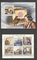 BC850 2010 S. TOME E PRINCIPE FAMOUS PEOPLE MUSIC ROBERT SCHUMANN 1KB+1BL MNH - Music