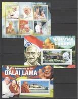 BC859 2010 S. TOME E PRINCIPE FAMOUS PEOPLE RELIGION POPE JOHN PAUL II DALAI LAMA MAHATMA GANDHI 1KB+2BL MNH - Papes