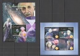 ST1277 2013 GUINE GUINEA-BISSAU FAMOUS PEOPLE SCIENCE ALBERT EINSTEIN KB+BL MNH - Albert Einstein