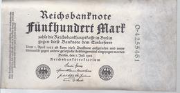 AK-23476 - 500  Reichsmark  -O - 4255461 V. 7. Juli 1922 - [ 3] 1918-1933 : Repubblica  Di Weimar
