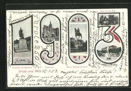 CPA Metz, Marshall Ney-monument, Kathedrale, Justizpalast, Jahreszahl 1903 - Metz