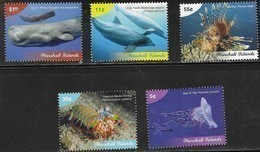 MARSHALL ISLANDS, 2019, MNH, MARINE LIFE DEFINITVES, WHALES, DOLPHINS, LION FISH, JELLYFISH, CRUSTACEANS, 5v - Ballenas