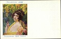 Artiste Cp Gervais, P., Calendrier 1912, Collection Job, Reklame, Rauchende Frau - Beroemde Personen