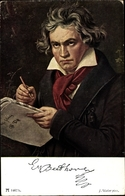 Artiste Cp Stieler, J., Ludwig Van Beethoven, Deutscher Komponist, Wiener Klassik, Ackermann 135 - Historical Famous People
