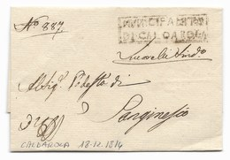 GOVERNO PROVVISORIO DI MURAT - DA CALDAROLA A SANGINESIO - 18.12.1814, - Italia