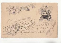 CPA Carte Fait Main - Un Souhait Pour L'Année - Carte Avant 1904 - Achat Immédiat - (cd014 ) - Año Nuevo