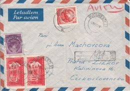 Roumanie - Lettre Recom De 1952 - Oblit Bucuresti - Exp Vers Praha - - Briefe U. Dokumente