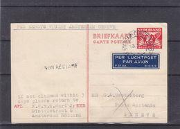 Pays Bas - Carte Postale De 1946 - Entier Postal -oblit Amsterdam Station - Exp Vers Genève-1 Er Vol Masterdam Genève - - Brieven En Documenten