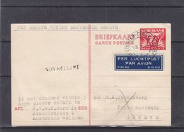 Pays Bas - Carte Postale De 1946 - Entier Postal -oblit Amsterdam Station - Exp Vers Genève-1 Er Vol Masterdam Genève - - Periode 1891-1948 (Wilhelmina)