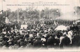 CPA   25   BESANCON---LES FETES DU 14, 15, 16 AOUT 1909--DEFILE DU 60e REGIMENT D'INFANTERIE DEVANT LA STATUE DU GENERAL - Besancon