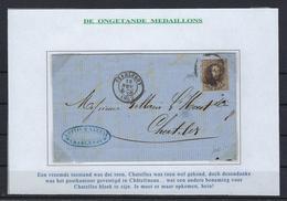 N°10 GESTEMPELD OP BRIEF MET 4 MARGES COB € 20,00 SUPERBE - 1858-1862 Medaillen (9/12)