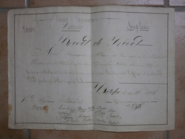 Brevet De Prévot 8 ème Régiment De Ligne Soldat Ouvrard Tambour Gymnastique Danse Bitche 19 Mai 1836 - Documenti