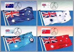 DIA DE AUSTRALIA 1991 - AUSTRALIA DAY - BANDERAS - FLAGS. Set 4 TM. Canberra Parliament House ACT, 1991 - Buste
