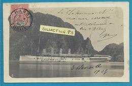"""Asie****Viet Nam - Carte Photo -""""Baie D'Along""""  Vaisseau De Guerre Le Chateaurenault Croiseur Corsaire""""-voyagée 1904 Sic - Viêt-Nam"""