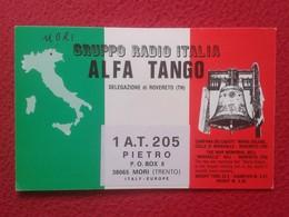 TARJETA TIPO POSTAL TYPE POST CARD QSL RADIOAFICIONADOS RADIO AMATEUR ALFA TANGO ITALIA CAMPANA BELL ROVERETO MIRAVALLE - Tarjetas QSL