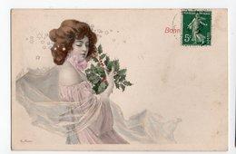 ART NOUVEAU * ILLUSTRATEUR R. AUER * FEMME* CHIGNON * VOILE * HOUX * ETOILES *  BONNE ANNEE * Série 155 - Illustrators & Photographers