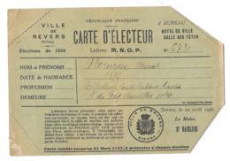 CARTE D'ELECTEUR..VILLE DE NEVERS..1936..VOIR..SCAN - Documents Historiques