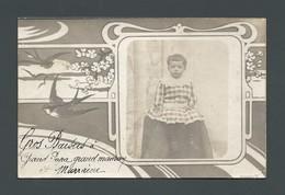 Art Déco Art Nouveau Enfant Child En Robe Vichy Illustration  Hirondelle Sterne PHOTO Carte - Anonyme Personen