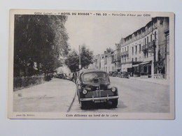 """GIEN """"Hotel Du Rivage """" Tel 53  Paris - Cote D'Azur Par Gien  Cliché Peu Courant  Beau Automobile 4 CV Renault - Gien"""