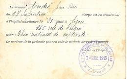 69-cachet Hôpital Aux. N°21-Ozanam à Lyon Sur CP Militaire En 1915-cachet Répété Au Verso - Marcophilie (Lettres)