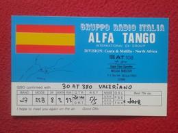 TARJETA TIPO POSTAL TYPE POST CARD QSL RADIOAFICIONADOS RADIO AMATEUR ALFA TANGO ITALIA SPAIN CEUTA MELILLA NORTH AFRICA - Tarjetas QSL
