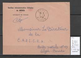 Algerie - Lettre - Cachet Medea Sur En Tete SAU -  Marcophilie - Algeria (1924-1962)