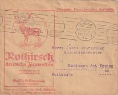 ALLEMAGNE 1921 LETTRE CCP(POSTSCHECKAMT) DE KARLSRUHE  THEME CERF - Germany