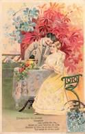 Cpa Carte Fantaisie Gaufrée Embossed Couple Demande Du Coeur Amour Amoureux Coupe Champagne 1905 - Fantaisies