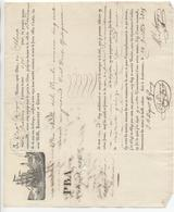 LANDERNEAU: Connaissement Maritime Sloop La Jeanine, Balle De Toile Pour Bordeaux De 1835 - 1800 – 1899