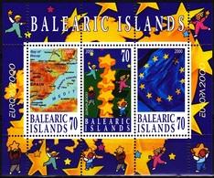 Europa Cept - 2000 - Balearic Islands - 1.Sheetlet Of 2 Stamp+1.Label - ** MNH - 2000
