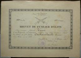 DIPLOME BREVET DE FUSILIER D' ELITE  - 151 ème REGIMENT INFANTERIE - MILITARIA - 1933 - Documents